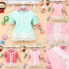 Kid Baby Clothes Girl Dots Long Sleeve Shirt Lace Pearl Soft Cardigan Coat 1-4Y
