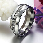 Stainless Steel Endless Eternity Forever Love Wedding 7mm Band Ring Size 5-14