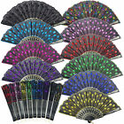 Chinese Peacock Foldable Sequins Fabric Bead party Hand Fan dance Decoration Lot