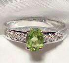 Genuine Faceted Oval Green Peridot .925 Sterling Silver Ring -- PD917