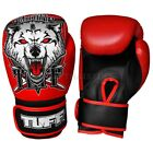 Tuff Muay Thai Boxing Gloves MMA Wolf Red Kick Boxing Leather Free DVD