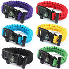 Hot Sell Rope Paracord Survival Bracelet Flint Fire Starter Compass Whistle