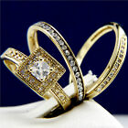 New 0.66 CT Clear Solitaire CZ Engagement Brass Wedding Stainless Steel Ring Set