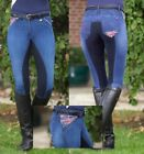 HKM Ladies Denim Pro Team Global Team Union Jack Breeches 3/4 Stretch Alos Seat