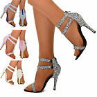 Womens Strappy Cuff Glitter Stiletto High Heel Sandal Open Toe Shoes Size NEW