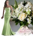 DALLAS Chartreuse Green Beaded Embellished Bridesmaid Ballgown Dress UK 6 -16