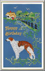 Borzoi Birthday Card Embroidered by Dogmania  - FREE PERSONALISATION