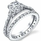 Sterling Silver Solitaire Clear CZ Wedding Engagement Promise 2 in 1 Set Ring