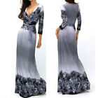 BEAUTIFUL GRAY & BLACK PRINT Jersey MAXI DRESS Faux Wrap X-Long BOHO S M L
