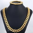 HEAVY 14mm Gold Curb Link Mens Chain 316L Stainless Steel Bracelet Necklace NEW