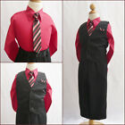 Boy black red pinstripe graduation wedding party dress shirt vest tie pant set