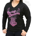 Harley-Davidson Womens Pink Eagle Black Long Sleeve Heavyweight Terry T-Shirt