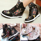 Womens Studded Lace Up Concealed Wedges High Top Trainer Boots Sneakers Shoes