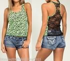 Neon Green/Leopard Lace Back Sleeveless Racerback Tank Blouse Top S M L