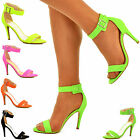Womens Ladies Ankle Strap Cuff Colourful High Heel Sandals Strappy Open Toe Shoe