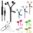 Zipper Stereo Tanglefree Earphones Headphone Earbuds Headset Mic Microphone