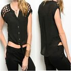 3222 BLACK TIE FRONT FANCY OPEN CUT SHOULDER SUMMER TOP SHIRT BLOUSE Sz 10 12 14