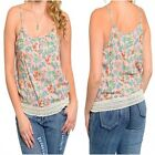 8375 PEACH PLUS SIZE FLORAL SUMMER TOP WITH STRETCHY EMBROIDERED HEM Sz 16 18 20