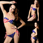 2015 Sexy Stars Stripes USA Flag Padded Twisted Bandeau Bikini Swimwear Swimsuit