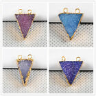 Similar Item! Agate Druzy Triangle Electroformed Gemston Connector/Golden ADG089