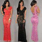 Women Floral Lace V-Neck Cap Sleeve Party Cocktail Solid Long Bodycon Maxi Dress