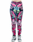 Too Fast Muerta Flora Day Of The Dead Floral Skull Skeleton Pink Lexy Leggings
