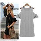 Vintage Women Summer Dress Off Shoulder Butterfly Sleeve T-shirt Tops Mini Dress