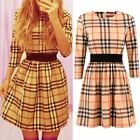 1X Women's Sexy Plaid Casual Short Party Evening Slim Cocktail Mini Casual Dress