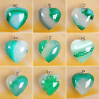 Gorgeous! Green Agate Druzy Geode Heart Pendant Bead AS11102