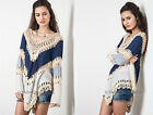 NAVY BLUE 16 Multi-Color CROCHET TUNIC Top Long Sleeve Shirt S M L XL 1X 2X