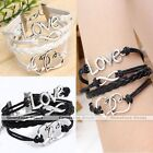 Antique Silver Infinity Love Double Heart PU Leather Suede Multi Wrap Bracelet