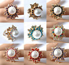 (9Colors) Fashion Jewelry crystal huge white pearl adjustable ring BE993