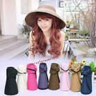 Fashion Girl Lady Beach Sun Visor Foldable Roll Up Wide Brim Straw Hat 8 Colors