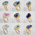 Wonderful! Agate Druzy Geode Ring / Golden AG14101