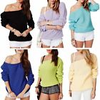 Womens Ladies Loose One Off Shoulder Knitted Oversized Sweater Jumper Shirt Top