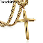 MENS Chain Silver/Black/Gold Byzantine Stainless Steel Cross Pendant Necklace
