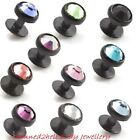 BLACK TITANIUM 4mm CRYSTAL TOP SKIN DIVER ~ DERMAL RIVET ~ 1mm Gauge Stem