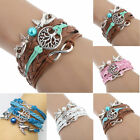 Multilayer Handmade Braided Leather Rope Love birds Charms Beaded Bracelet Chain