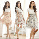 Chic Korean Women Chiffon Dress Summer Floral Elastic Waist Flower Mini Dress