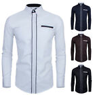 Fashion Mens hit colors slim fit Tops Long Sleeve Casual Dress Shirts 4 Sizes