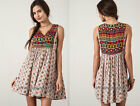 TAUPE Off White (30) PRINTED TUNIC TANK Shirt DRESS Bohemian Boho Indie S M L