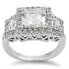 Sterling Silver Round Princess Cut Clear CZ Engagement Wedding Ring Size 3-11