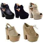 WOMENS LADIES BLOCK HIGH HEEL PLATFORM SANDALS WEDGE ANKLE STRAPPY SHOES SIZE