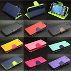 Dual Color Deluxe Wallet Leather Flip TPU Stand Case For Samsung Galaxy Phone
