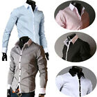 Stylish Mens Luxury Casual Shirts Slim Fit Long Sleeve Line Dress Formal Shirts
