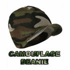Mens/Adults Camouflage Skull Ski Beanie Hats with Peak cap Army style winter