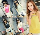 New Fashion Women's Gauze Splice Chiffon Tops Sleeveless T-Shirt Casual Blouse