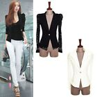 Women SEXY Long Sleeve Lace Crochet Lapel Blazer Short Jacket Suit Blouse Top