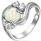 925 Sterling Silver Round White Lab Opal Clear CZ 3 Stone Promise Ring Size 3-11