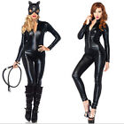 Ladies Spandex PVC Catsuit Faux Leather Jumpsuit Bodysuit Fancy Dress Costume